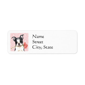 Valentine Rose Boston Terrier Return Address Label