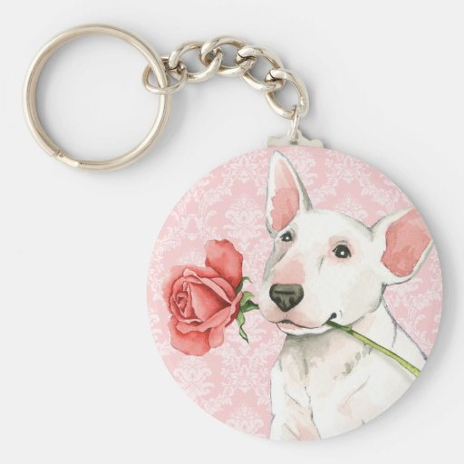 Valentine Rose Bull Terrier Key Chain