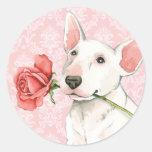 Valentine Rose Bull Terrier Round Sticker