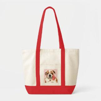 Valentine Rose Bulldog Tote Bag