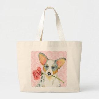 Valentine Rose Cardigan Welsh Corgi Tote Bag