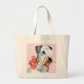Valentine Rose Cesky Terrier Large Tote Bag