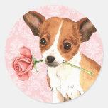 Valentine Rose Chihuahua Round Sticker