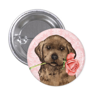 Valentine Rose Chocolate Lab Buttons
