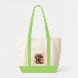 Valentine Rose Chocolate Lab Canvas Bags