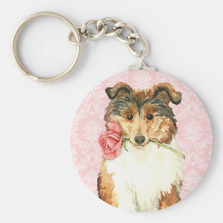 Valentine Rose Collie Basic Round Button Key Ring