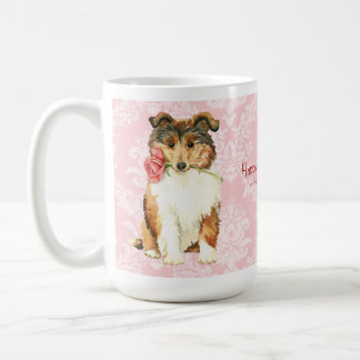 Valentine Rose Collie Coffee Mug