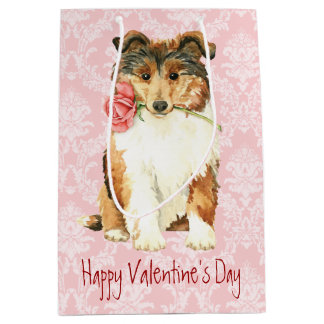 Valentine Rose Collie Medium Gift Bag