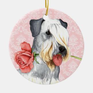 Valentine Rose Doberman Ceramic Ornament