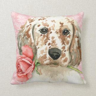 Valentine Rose English Setter Cushion