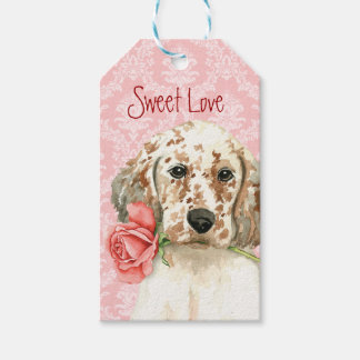 Valentine Rose English Setter Gift Tags