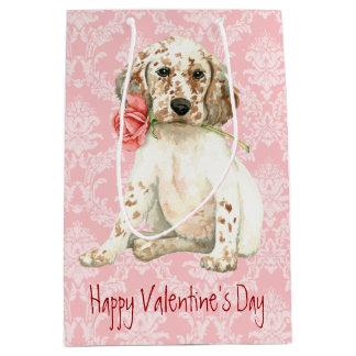 Valentine Rose English Setter Medium Gift Bag