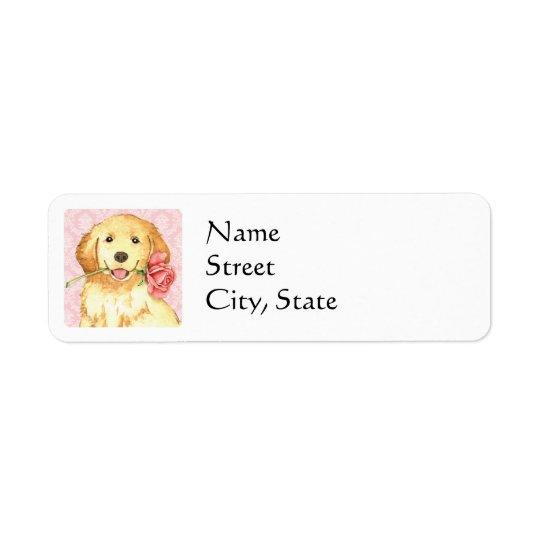 Valentine Rose Golden Return Address Label