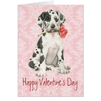 Valentine Rose Great Dane Card