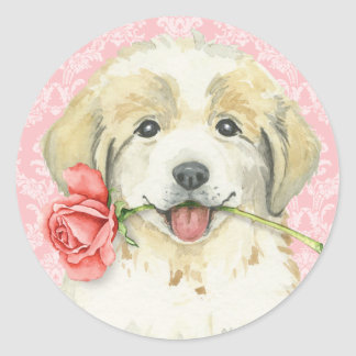Valentine Rose Great Pyrenees Classic Round Sticker