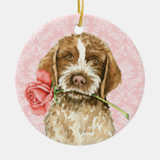 Valentine Rose Griffon Ceramic Ornament
