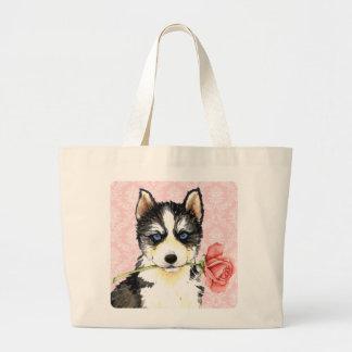 Valentine Rose Husky Tote Bags