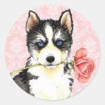 Valentine Rose Husky Classic Round Sticker