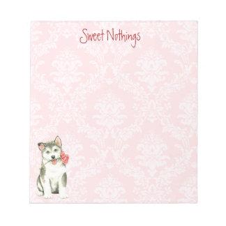 Valentine Rose Malemute Notepad