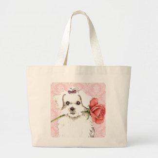 Valentine Rose Maltese Canvas Bag