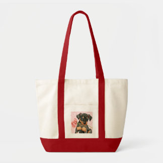 Valentine Rose Min Pin Canvas Bags