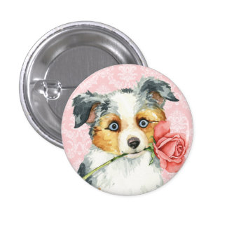 Valentine Rose Mini American Shepherd 3 Cm Round Badge