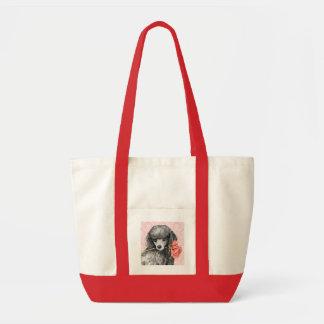 Valentine Rose Miniature Poodle Tote Bags