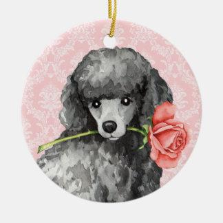Valentine Rose Miniature Poodle Round Ceramic Decoration