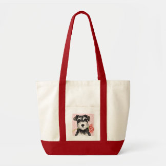 Valentine Rose Miniature Schnauzer Tote Bags