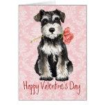 Valentine Rose Miniature Schnauzer Greeting Card