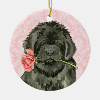 Valentine Rose Newfoundland Round Ceramic Decoration