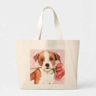Valentine Rose Parson Russell Terrier Tote Bags