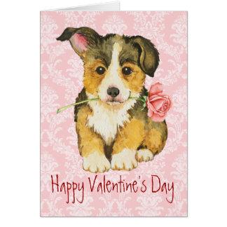 Valentine Rose Pembroke Welsh Corgi Card