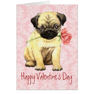 Valentine Rose Pug Card