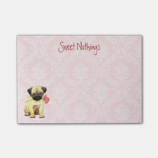 Valentine Rose Pug Post-it® Notes