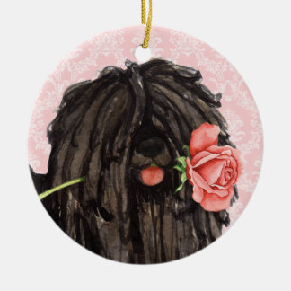 Valentine Rose Puli Ceramic Ornament