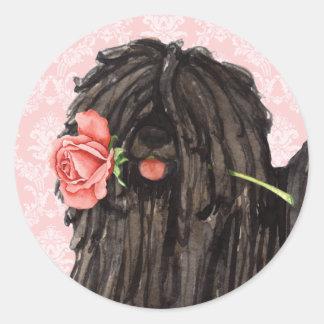 Valentine Rose Puli Classic Round Sticker
