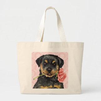 Valentine Rose Rottweiler Tote Bag