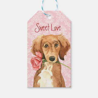 Valentine Rose Saluki Gift Tags