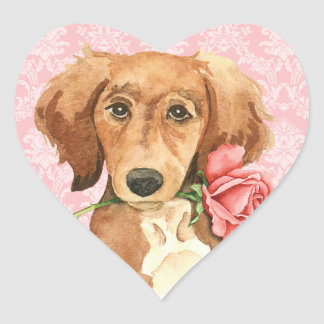 Valentine Rose Saluki Heart Sticker