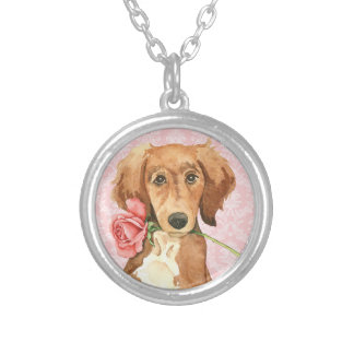 Valentine Rose Saluki Silver Plated Necklace