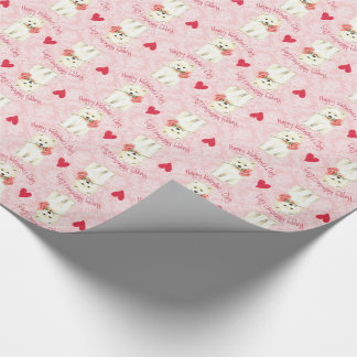 Valentine Rose Samoyed Wrapping Paper