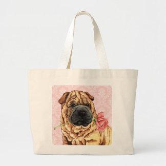 Valentine Rose Shar-Pei Tote Bags
