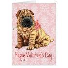 Valentine Rose Shar-Pei Card