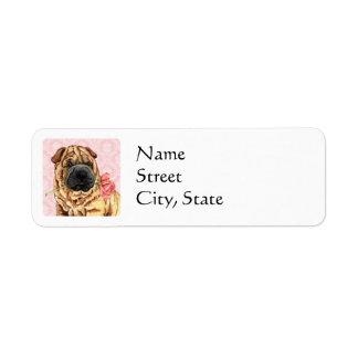Valentine Rose Shar-Pei Return Address Label