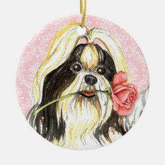 Valentine Rose Shih Tzu Ceramic Ornament