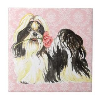Valentine Rose Shih Tzu Ceramic Tile