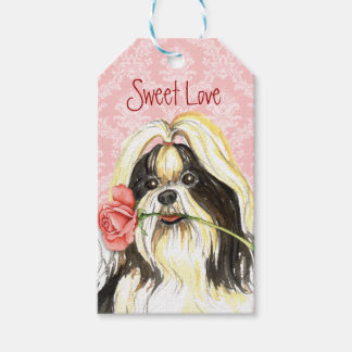 Valentine Rose Shih Tzu Gift Tags