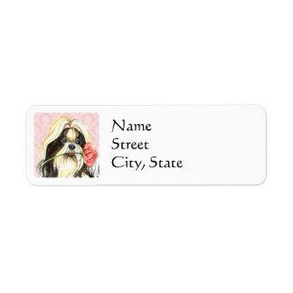 Valentine Rose Shih Tzu Return Address Label