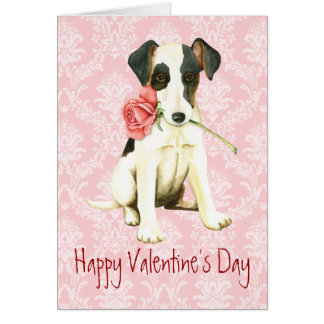 Valentine Rose Smooth Fox Terrier Greeting Card